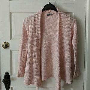 Market & Spruce Pink White Herringbone Cardigan